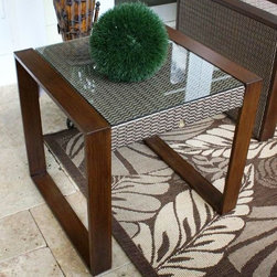 Hospitality Rattan - Venetian Sling Patio End Table w Tempered Gla - Made of Extruded Aluminum Frame will not rust. Finished in a powder coated Dark Bronze finish. Weather and UV resistant. Extruded Aluminum Frame w Twitchel fiber. Sturdy aluminum legs for extra support. Glass is included and can be removed if not wanted. Overall: 22 in. L x 22 in. W x 24 in. H (10 lbs.)This contemporary sling deep seating known as Venetian incorporates a tubular extruded aluminum frame that will not rust. Made with an exclusive Twitchel brand Sling fiber is used in place of cushions on the seating pieces. The best feature of this set is that it does not require cushions, and is very comfortable. The tempered glass on the coffee table and end table can actually be removed and stored, as the tables have sling and aluminum beneath the glass. This collection matches the Chub Cay dining group and chaise lounge collection.