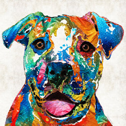 Animals, Fish and Birds - Colorful Dog Pit Bull Art - Happy - By Sharon Cummings
