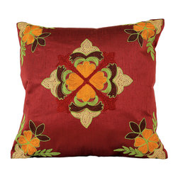 Banarsi Designs - Floral Embroidered Pillow Cover, Set of 2 (Red) - The Floral Embroidered Pillow Cover Set of 2 from Banarsi Designs is available in beautiful and vivid colors. Crafted in India, our accent pillow covers incorporate a unique embroidered floral pattern using a combination of color tones. Zippers allow for easy removal and the 16 X 16 size fits most throw pillows in your home.   Perfect for decorating your living room, guest rooms and bedrooms.