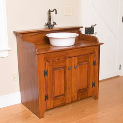 Country Lane - Custom sink console in laundry room - Renovation and addition of 1800's stone house