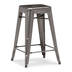 Zuo Modern - Zuo Marius Counter Chair in Gunmetal [Set of 4] - Counter Chair in Gunmetal belongs to Marius Collection by Zuo Modern Seen in popular bistros in France, the Marius counter chair will transform your space into a caf� in Paris. The stool is 100% powder coated steel for durability. Counter Chair (4)