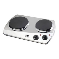 Kalorik - 2-Burner Cooking Plate - Whether you're traveling across country, hosting a party or living in a small space, a double cooking plate can be a handy convenience. You can easily tuck this away until needed and then be able to whip up hot meals in minutes. It's easy to clean and will look great on any countertop.