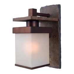 Kenroy Home - Kenroy 70283COP Boulder 1 Lt Med. Wall Lantern - Natural slate and copper bronze finishes are the driving forces behind the Boulder line.  The simple box shape and frosted shade are equally at home in Craftsman, Asian-inspired, and transitional home settings - both indoors and out.