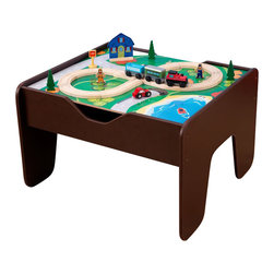 Kidkraft - KidKraft 2-in-1 Activity Table with Lego and Train Set in Espresso - Kidkraft - Train Tables and Sets - 17577 - Our 2-in-1 Activity Table with Board is a fun gift idea for any young imaginative child. The play board is compatible with LEGO products and parents are sure to love how the sturdy table keeps playtime off the floor. The stylish espresso finish is also a big plus this train table is sure to look great in any kid's bedroom!