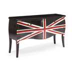 ZUO ERA - Union Jack Large Cabinet Distressed Black - A weathered piece of furniture can add new warmth to your home, especially when it's emblazoned with a bright and bold Union Jack design on the front. This conversation starter sports a rustic distressed finish, antiqued metal handles and two roomy drawers.