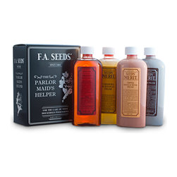 F.A. Seeds - Parlor Maid's Helper Home Care Products, Set of 4 - Contains Wood Dressing, Carnauba & Beeswax Polish, Silver Polish, Copper and Brass Polish. Four of our most popular home care products to clean and maintain the well-appointed home. An excellent gift for a housewarming party or bridal shower.
