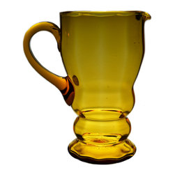 Lavish Shoestring - Consigned Amber Glass Jug, Vintage English Art Deco, 1920s-30s - This is a vintage one-of-a-kind item.