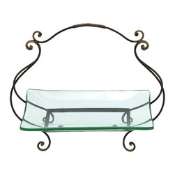 Benzara - Glass Plate Metal Bucket Living Family Room Accent Home Decor 68543 - Modern and contemporary inspired style glass plate with metal bucket living, dining, and family room accent home decor