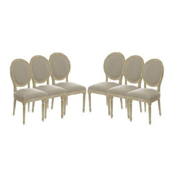 The Gallery - Set of 6 Vintage French Round Upholstered Side Dining Chairs - Originally designed to seat kings, This gorgeous chair is upholstered with natural linen and has a gently curved barrel-back design. The oak legs and soft seat make This comfortable chair the perfect accent piece.