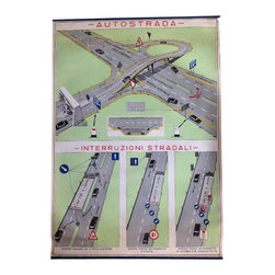 "Vintage Italian Autostrada Chart - This vintage chart of the Autostrada, or expressway in Italian, is originally from a driving school in Italy. If you've ever driven on the Autostrada in Italy, you'll have an appreciation for this unique conversation piece that makes an interesting piece of artwork.  This vintage chart/poster has great graphics and is colorful and fun.  It looks good hung ""as is"" and we have had similar ones framed for customers. This makes a nice presentation as well.  As with most vintage finds, there is some wear which we have highlighted in the photo gallery."