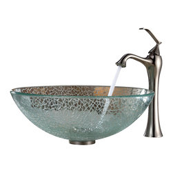 Kraus - Kraus Mosaic Glass Vessel Sink and Ventus Faucet Brushed Nickel - *Add a touch of elegance to your bathroom with a glass sink combo from Kraus