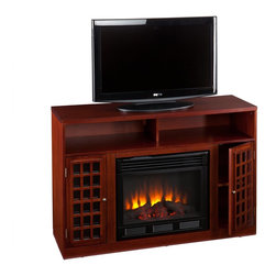 """Southern Enterprises Inc - Southern Enterprises Inc Narita Media Electric Fireplace - Mahogany X-3039EF - Contemporary styling, modern conveniences, and the relaxing glow of fire are all combined into this luxurious piece. Finished with a rich mahogany stain, the firebox itself is framed on each side by lattice style cabinets with adjustable shelves. Above is an open shelf, divided in two by the center support structure. The open shelf includes two cord management openings, making it ideal for all of your media equipment or game consoles. The firebox has realistic, multicolor flickering flames and glowing embers with an interior brick design for a more lifelike look.  This electric fireplace features energy efficient LED and requires no professional installation, making it a cost effective way to upgrade your living or media room. Easy to use remote control offers 4-way adjustability to warm the room conveniently. Safety features include automatic shutoff and glass that remains cool to the touch. Turn off the heat to enjoy the fireplace ambience year round!  - FEATURES:                                                                                             - Accommodates a flat panel TV up to 46"""" W overall                                                      - Features 2 media shelves, 2 cabinets, and 2 adjustable shelves                                        - Offers 2 cord management openings                                                                     - Wood is distressed with small wormholes and imperfections to add character                            - Rich mahogany finish                                                                                  - PRODUCT SPECIFICATIONS:                                                                               - Media shelves: 22.75"""" W x 15.25"""" D x 5.5"""" H                                                           - Cabinets: 9.25"""" W x 14.25"""" D x 21"""" H                                                       """