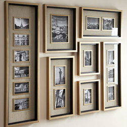"Horchow - Massena Photo Collage Frames - A grouping of frames with a lightly antiqued silver-leaf finish and matte black liners displays your favorite photos with style. Handcrafted of fir and wood composite. Photos are surrounded by oatmeal-colored linen mats. Holds 11 4"" x 6"" photos,...."