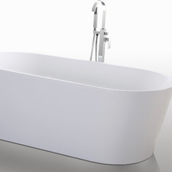 "HelixBath Agora Freestanding Acrylic Soaking Bathtub 67"" White - Designs created for bathing purists. The curves and lines are well conceived & uncomplicated. Helixbath's well tailored soaking tubs provide an ergonomic comfortable spa experience. Featuring an easy to clean 3M Fade Resistant finish and stainless steel frame, Agora is the very definition of beautiful longevity. Thinner low profile top rails and elegantly curved ends flare outward at a degree of specific intent. Agora meets the modern profile of the perfectly designed soaking tub. Faucet shown for display purpose only and sold separately."