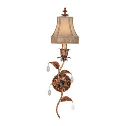 Fine Art Lamps - Pastiche Sconce, 408050ST - Left facing wall sconce in bronzed gold finish. Elegant flowering stem design features delicate scarlet undertones and crystal drops. Hand-tailored shade of spun gold silk features decorative pleated gallery. 60 watt B-10 bulb, candelabra base light bulb. UL Listed, phenolic socket. Shade dimensions: 3.5 x 6.5 x 6.5 Bulb(s) not included. We recommend that all Fine Art Lamps are hung by a professional electrician. All fixtures come with specific hanging instructions and descriptions. Contact Houzz for specific questions regarding installation instructions