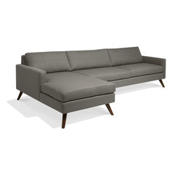 TrueModern - Dane 116'' Sofa with Chaise - This Dane sofa with chaise gets its name from the stiletto Danish legs that carry it. With super slim arms and understated stitching on the back cushions, this sofa becomes the centerpiece in any room.
