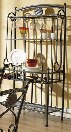 "Steve Silver - Brookfield Bakers Rack - Invite your closest friends over to enjoy an elegant and sophisticated meal with the Brookfield bakers rack. The bakers rack offers stylish and sophisticated wine and stemware storage. Powder coat finish for durability; Wine rack and stemware storage. Dimensions: 18""L x 358""W x 76""H"