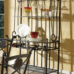 """Steve Silver - Brookfield Bakers Rack - Invite your closest friends over to enjoy an elegant and sophisticated meal with the Brookfield bakers rack. The bakers rack offers stylish and sophisticated wine and stemware storage. Powder coat finish for durability; Wine rack and stemware storage. Dimensions: 18""""L x 358""""W x 76""""H"""