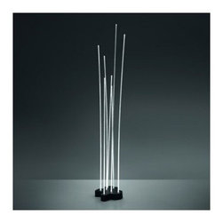 Artemide - Artemide | Reeds Outdoor Floor Lamp - Design by Ernesto Gismondi.By Artemide.The Reeds Outdoor Floor Lamp features diffused emissions and high-performance LED light sources. Light is diffused through 7 PMMA rods with different heights to give the impression of a groove of reeds.The Single IP20 version is composed of a transparent polycarbonate and aluminum with integrated ballast and plug with transparent cable. On/off switch on cord.The Single and Triple IP67 and IP68 versions are composted of transparent polycarbonate and stainless steel. The fixture can be mounted to the floor by the holes in the lower plate.For the IP67 Versions: