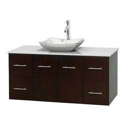 """Wyndham Collection - Centra 48"""" Espresso Single Vanity, White Man-Made Stone Top, Carrera Marble Sink - Simplicity and elegance combine in the perfect lines of the Centra vanity by the Wyndham Collection. If cutting-edge contemporary design is your style then the Centra vanity is for you - modern, chic and built to last a lifetime. Available with green glass, pure white man-made stone, ivory marble or white carrera marble counters, with stunning vessel or undermount sink(s) and matching mirror(s). Featuring soft close door hinges, drawer glides, and meticulously finished with brushed chrome hardware. The attention to detail on this beautiful vanity is second to none."""