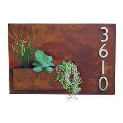 "Urban Mettle - Hanging Planter & Metal Address Plaque, Succulent Wall Decor - 20"" x 30"", With N - Welcome Home. This modern address plaque and wall planter adds flair and style to the facade of your home with satin nickel address numbers. Looks particularly great with colorful succulents!"