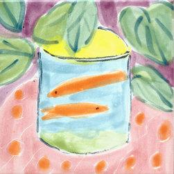 """Annette Kearney Majolica Mosiacs - Matisse inspired majolica tiles 6"""" and 4"""""""