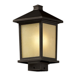 Z-Lite - Z-Lite 537PHM-ORB Holbrook 1 Light Post Light & Accessories in Oil Rubbed Bronze - Clean, mission styling and rectangular detailing define the classic styling of this medium outdoor post head. Tinted seedy glass panels create an elegant glow, while the cast aluminum hardware finished in oil rubbed bronze can withstand nature�s seasonal elements.
