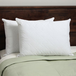 Spring Air - Spring Air 400 Thread Count Quilted Ultima Down Alternative Pillow (Set of 2) - Sleep in comfort with the Spring Air down alternative pillow constructed of 400 thread count cotton. Featuring a soft quilted layer in a double diamond pattern,this pillow offers firm support while you sleep.