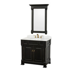 "Wyndham Collection - Wyndham Collection 36"" Andover Single Sink Bathroom Vanity Set in Antique Black - A new edition to the Wyndham Collection, the beautiful Andover bathroom vanity series represents an updated take on traditional styling. The Andover is a keystone piece, with strong, classic lines and an attention to detail. The vanity and solid marble countertop are hand carved and stained. Available in Black and Dark Cherry finishes to match any decor. Available in a range of single or double vanity sizes to fit any bathroom."
