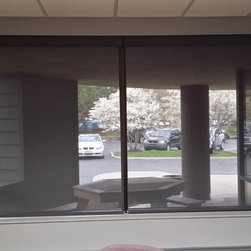 Solar Shades and Wood Blinds In Toledo Area Office - Solar Shades offer a clean, crisp look to a room. This window looks out over the patio area for the office suite.