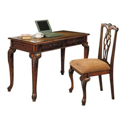 "Acme - Aristocrat Collection Dark Cherry Brown Finish Wood Desk and Chair Set - Aristocrat collection dark cherry brown finish wood desk and chair set with detailed carvings. This desk features detailed carvings and in a dark cherry brown finish wood. Desk measures 48"" x 23"" x 31"" H. Chair measures 40"" H to the back. Some assembly required."