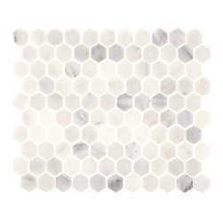 "Tile Circle - Aspen White Marble 1"" Hexagon Tile (Backplash, Wall, Floor, & Shower), 12x12 - Perfect for kitchen backsplashes or bathroom floor and wall tile installations."