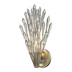 Elk Lighting - Elk Lighting Viva Collection 1 Light Sconce In Aged Silver - 31430/1 - 1 Light Sconce In Aged Silver - 31430/1 in the Viva collection by Elk Lighting Brilliant arrays of crystal spears highlight the design of the Andromeda collection.  Overlapping steel wires, finished in Aged Silver, form a gently curved shape while crystals sparkle when illuminated yet still  fascinate when unlit.  The combination of these elements transforms this design into a sculpture of textured light.  Wall Sconce (1)