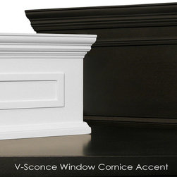 Whispar Design - V-Sconce Cornice Window Treatment - The patented V-Sconce™ window cornice and drapery sconce is a new concept in drapery hardware for window treatments that offers increased interior design options, is light-weight, and simple to install. It is the only sconce in which curtains or fabrics can be draped through the top and or bottom of the sconce while still leaving optional side openings free to support a drapery rod or additional fabric.