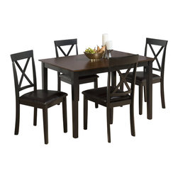 Jofran - Jofran 261 Series 5 Piece Dining Table Set in Burly Brown and Black - Jofran - Dining Sets - 261 - This Jofran Dining Set is constructed of Birch veneer and solid Asian hardwood in a Burly Brown and Black finish. It includes a standard height dining table and four side chairs. With a contemporary design and faux leather seats, this Jofran Dining Set will offer a lasting appeal you will enjoy for many years.