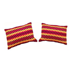 Used Neon Vintage Bargello Pillows - A Pair - A pair of vintage Bargello pillows. The pillows feature a vibrant pattern of neon orange, magenta and bright yellow with a linen back. These will be the perfect pop of energy to add life to a sofa, bed, or accent chair that is feeling a bit drab.