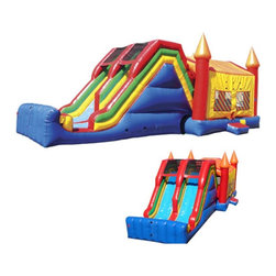 Kidwise - Kidwise Jumbo Double Lane Jump & Inflatable Slide - KE-CO2101 - Shop for Tents and Playhouses from Hayneedle.com! Make the Kidwise Jumbo Double Lane Jump and Slide the center of attention at any gathering. This fun and exciting bounce house commercial grade inflatable is perfect for a variety of events including birthday parties church functions fairs festivals or block parties. It features a large bounce area dual slides internal ladder and is made of durable 18-ounce colorful PVC vinyl. It also comes complete with blower repair kit stakes tarp and even a blank banner for advertising.About Kidwise ProductsThis item is made by Kidwise Outdoors a company whose focus is safe fun excitement for kids. Kidwise strives to promote safe play for kids of all ages through outside activities. Their line of products includes swing sets trampolines inflatable bouncers bikes sport goals and many other items to choose from. Kidwise guarantees all of their products against defects. Like Hayneedle their goal is 100% satisfaction from customers. Their product lines focus on kid-friendly items that are fun to play with and stimulate balance and a healthy lifestyle for kids.
