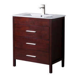 """Inolav - Bathroom Vanity Morris 30"""" with Porcelain Sink Top, Dark Walnut - Capture the best of modern and transitional style with the Morris bathroom vanity. It features an abundance of soft close drawers for easy and convenient access of the everyday toiletries. The sleek look of the Morris vanity gets completed with our beautiful and easy to grab drawer hardware in Brushed Nickel finish."""