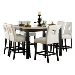 Homelegance - Homelegance Archstone 7 Piece Counter Height Dining Room Set with White Chairs - Contemporary design, sleek seating and the combination of black finish with white accents are all the ingredients you need to create a stylish setting for exceptional dining. The white faux marble top pairs perfectly with a cut out center chair back, the color contrast and stylish design create a rich visual enhancement. Chairs are available in white bi-cast vinyl and black bi-cast vinyl.