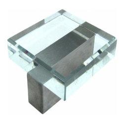 Richelieu Hardware - Richelieu Glass City  Contemporary Glass/Metal Knob 35mm Nickel/Glass - Richelieu Glass City  Contemporary Glass/Metal Knob 35mm Nickel/Glass