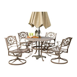 "Home Styles - Home Styles Biscayne 5PC 48"" Round Outdoor Dining Set in Bronze Rust - Home Styles - Patio Dining Sets - 5555325 - Home Styles Biscayne 5PC Set includes 48 inch Round Outdoor Dining Table and Four Swivel Chairs. Set is constructed of cast aluminum with a Rust bronze finish. Features include hand antiqued powder coat finish sealed with a clear coat to protect finish attractively patterned table top has center opening to accommodate umbrellas and nylon glides on all legs Features:"