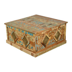 Sierra Living Concepts - Golden Coins Reclaimed Wood Square Large Storage Chest and Trunk - Extra storage space is its own treasure and our Golden Coins Double Lid Multi-Use Box doubles the value. The rustic chest is decorated with a Diamond Golden Coin Pattern but you can stow your own valuables inside. Use this square box as coffee table, display platform or hope chest. You'll have easy access to the contents because this solid hardwood trunk opens from the center so you can reach in from both sides.