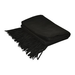 "Pur by Pur Cashmere - Signature Blend Throw Black 50""x65"" With 6"" Fringe - Merino wool throw. 100% merino wool Dry clean only. Inner mongolia."