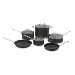 Cuisinart - Chef's Classic Hard Anodized 10-Piece Cookware Set - Anodized 10-Piece Set includes all the tools you need to perform virtually any cooking task. Serious chefs can saut veal or salmon steaks, reduce a delicate sauce, and simmer the perfect stock. You can also slow-cook creamy oatmeal, grill cheese sandwiches, and warm up soup for lunch. The Chef's Classic Non-Stick Hard Anodized 10-Piece Set makes life easy and delicious, all day long. Includes: -1.5 Qt. saucepan with cover. -3 Qt. saucepan with cover. -3.5 Qt. saut pan with helper handle and cover. -8 Qt. stockpot with cover. -10'' skillet. -8'' skillet. Features: -Hard Anodized Exterior.-Dense, non-porous, highly wear resistant.-Unsurpassed Heat Distribution, eliminates hot spots.-Non-Stick for Professional Results.-Metal utensil safe.-Cool Grip handles.-Rims are tapered for drip-free pouring.-Tempered Glass Covers.-Oven safe to 500 degrees F.-Cleaning and Care: Wash by hand with Sponge or soft dish cloth.-Collection: Chef's Classic Hard-Anodized Cookware.-Distressed: No.Dimensions: -Overall Product Weight: 20.7 lbs.Warranty: -Limited lifetime warranty.