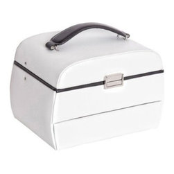 Mele Miranda Trunk Style with Auto Tray - White Bonded Leather - 6.5W x 6.25H in - What a treat, the Mele & Co. Miranda Trunk Style with Auto Tray - White Bonded Leather opens up for you… automatically. The perfect gift for the woman in your life, this quality white bonded leather jewelry box will look lovely on her dresser. The box features a sleek trunk design, black trim and handle, and polished silver-tone latch. An easy-to-open lift lid includes an oval mirror with black leather trim. The automatic tray features one open section, two ring rolls sections, and one section with three earring cards. The main compartment has three open sections. An automatic drawer offers open storage. Hand-lined in ivory suede fabric, this trunk style jewelry box includes the Mele & Co. logo plate. 9.5L x 6.5W x 6.25H inchesAbout MeleEmidio Mele, an Italian immigrant to the United States, came to New York City in 1896 and learned to make jewelry boxes as an apprentice before founding Mele Manufacturing in 1912. He began by designing and building elegant displays for jewelry store windows. His jewelry box-making business grew throughout the 1900s, responding to demands for boxes to hold Purple Hearts during WWII and developing as a popular household name for quality jewelry boxes. Today Mele Jewelry Box is known as the Mele Companies, which encompass various divisions under the Mele name. Now based in Utica, N.Y., Mele still upholds the family atmosphere on which it was founded and remains America's foremost name in jewelry cases.