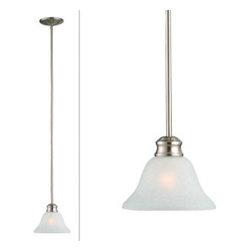 DHI-Corp - Bristol 1-Light Mini Pendant, Satin Nickel - The Design House 517094 Bristol 1-Light Mini Pendant is made of formed steel, crisp alabaster glass and finished in satin nickel. This pendant's linear construction and contemporary appeal extends long from the ceiling with a soft downward facing lamp gently diffusing light. This 1-light pendant is rated for 120-volts and uses (1) 60-watt medium base incandescent bulb. Measuring 43.7-inches (H) by 7.5-inches (W), this 3-pound fixture can be mounted on its own or with several for a dramatic look. Clean lines and sleek details add a modern accent above a kitchen island, bar or table. This product is UL and CUL listed. The Bristol collection features a beautiful matching vanity light, chandelier, ceiling mount and wall sconce. The Design House 517094 Bristol 1-Light Mini Pendant comes with a 10-year limited warranty that protects against defects in materials and workmanship. Design House offers products in multiple home decor categories including lighting, ceiling fans, hardware and plumbing products. With years of hands-on experience, Design House understands every aspect of the home decor industry, and devotes itself to providing quality products across the home decor spectrum. Providing value to their customers, Design House uses industry leading merchandising solutions and innovative programs. Design House is committed to providing high quality products for your home improvement projects.