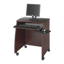 Safco - Picco Duo Computer Workstation in Mahogany - Highlighted by a pull out keyboard tray with a fabric covered wrist support and a curved mouse tray, this computer workstation will be a versatile choice for home or commercial office decors. It has a smooth top surface for monitor and CPU storage and is on casters for easy mobility. Top surface for monitor and CPU storage. Pullout keyboard that includes a fabric covered foam wrist support. Privacy panel with openings for cable routing. Two locking dual wheel carpet casters. Four swivel casters. Made from furniture grade particleboard. Weight Capacity: 25 lbs. (Keyboard Tray), 100 lbs. (Desk Top). Upper Compartment Size: 18.75 in. W x 16.25 in. D x 5.88 in. H. Mouse Tray Dimension: 8.5 in. W x 7.88 in. D. Keyboard Shelf Dimension: 23.76 in. W x 15.5 in. D. Worksurface Height: 30.25 in.. Worksurface Dimensions: 28.25 in. W x 18.5 in. D. Overall: 28.25 in. W x 22.25 in. D x 30.25 in. H (52 lbs.). Assembly InstructionPicco everyone's interests with this workstation. Elegantly designed this mobile workstation is great in the computer lab, library, media center, server room, classroom, faculty lounge, print shop or conference room. And with it's sleek style it works perfectly in any open meeting spaces around your office.