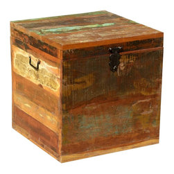 "Sierra Living Concepts - Appalachian Reclaimed Wood Rustic End Table Storage Cube Chest - Chest was filled with treasures and memories of time gone by. Appalachian  Reclaimed Wood End Table Chest is ready to be filled once again. This multi-use box is a great night-stand, end table, or standalone box. The 20"" cube is built with reclaimed wood from Gujarat."