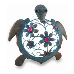 Zeckos - Metal Blue Turtle Wall Sculpture with Pink Flowers Distressed Finish - This playfully pretty blue turtle features coiled wire details, round glass eyes and sculpted flowers accented with bright pink faceted jewels that add a 'pop' of color anywhere it's hung Sculpted from metal, this bejeweled slow poke is hand-painted with a distressed blue verdigris finish, and easily hangs by the attached hanger, and measures 14 inches (36 cm) long, 14.5 inches (37 cm) wide and 4 inches (10 cm) deep. Hang it outside near your entryway, out in the garden or inside in the living-room bringing color to a plain wall