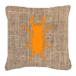 Caroline's Treasures - Beetle Burlap and Orange Fabric Decorative Pillow Bb1063 - Indoor or Outdoor Pillow made of a heavyweight Canvas. Has the feel of Sunbrella Fabric. 14 inch x 14 inch 100% Polyester Fabric pillow Sham with pillow form. This pillow is made from our new canvas type fabric can be used Indoor or outdoor. Fade resistant, stain resistant and Machine washable.